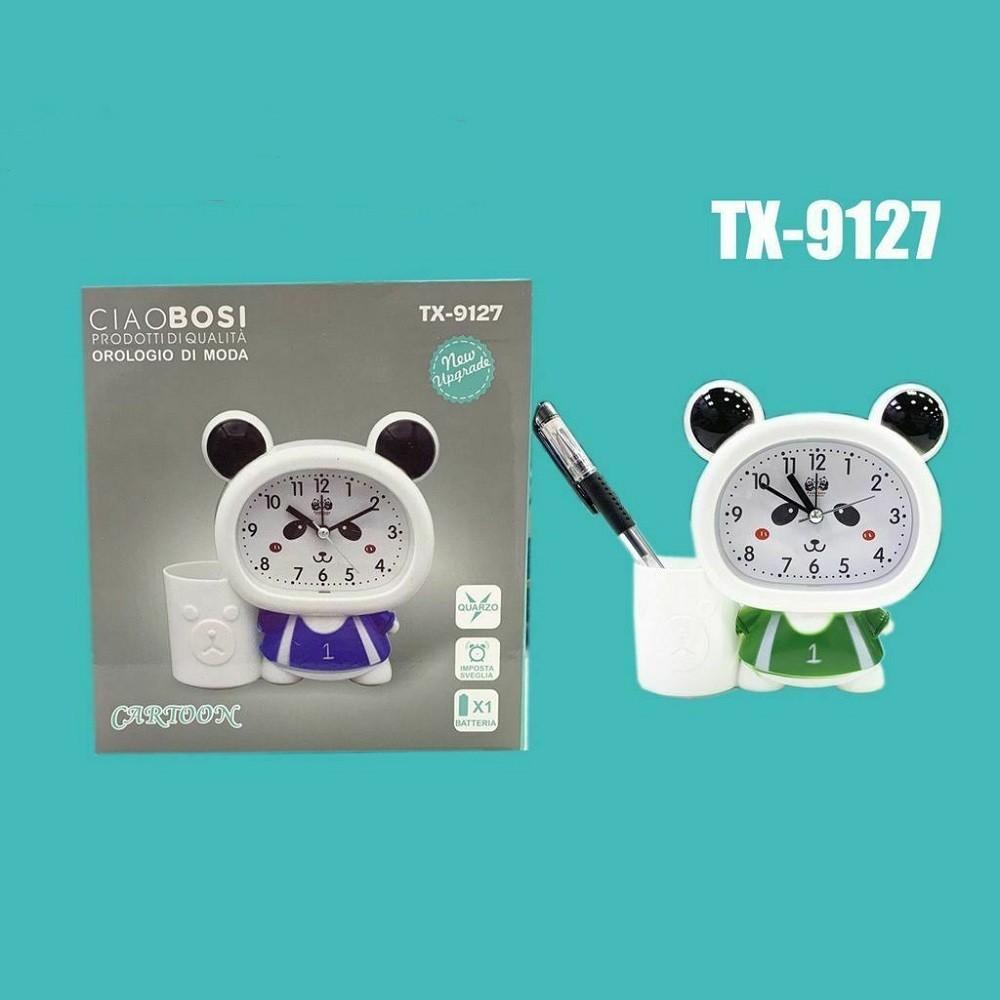 Orologio Sveglia A Forma Di Panda Analogico Portapenne Tavolo Tx 9127