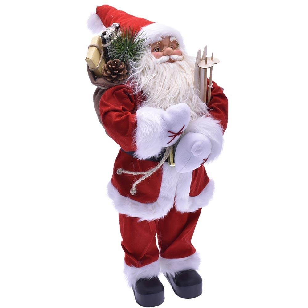 Babbo Natale 60 Cm.Babbo Natale Classico 60cm Plastica Vestiti Tessuto Decorazione Natali