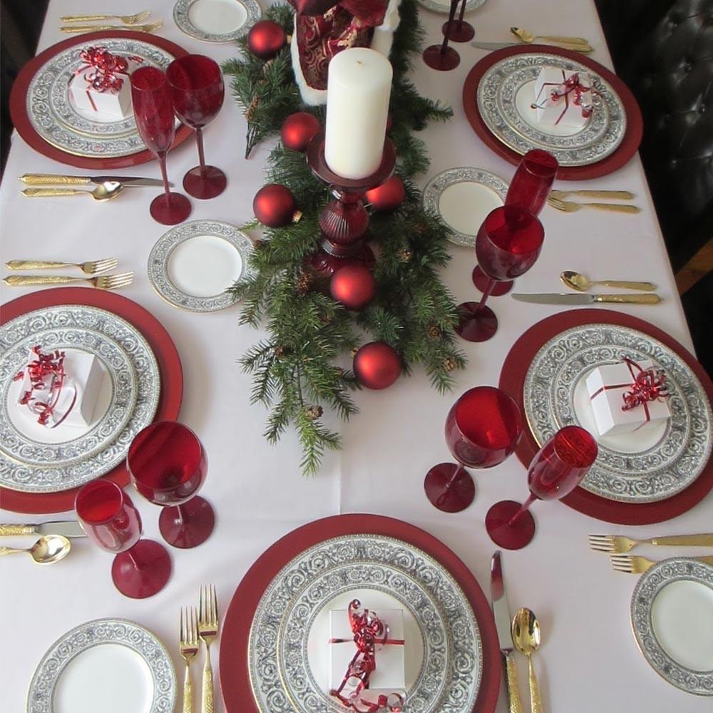 Decorazioni Natalizie Tavola.6 X Sottopiatti Natalizi Plastica 33cm Decorazioni Natale Tavola Rosso