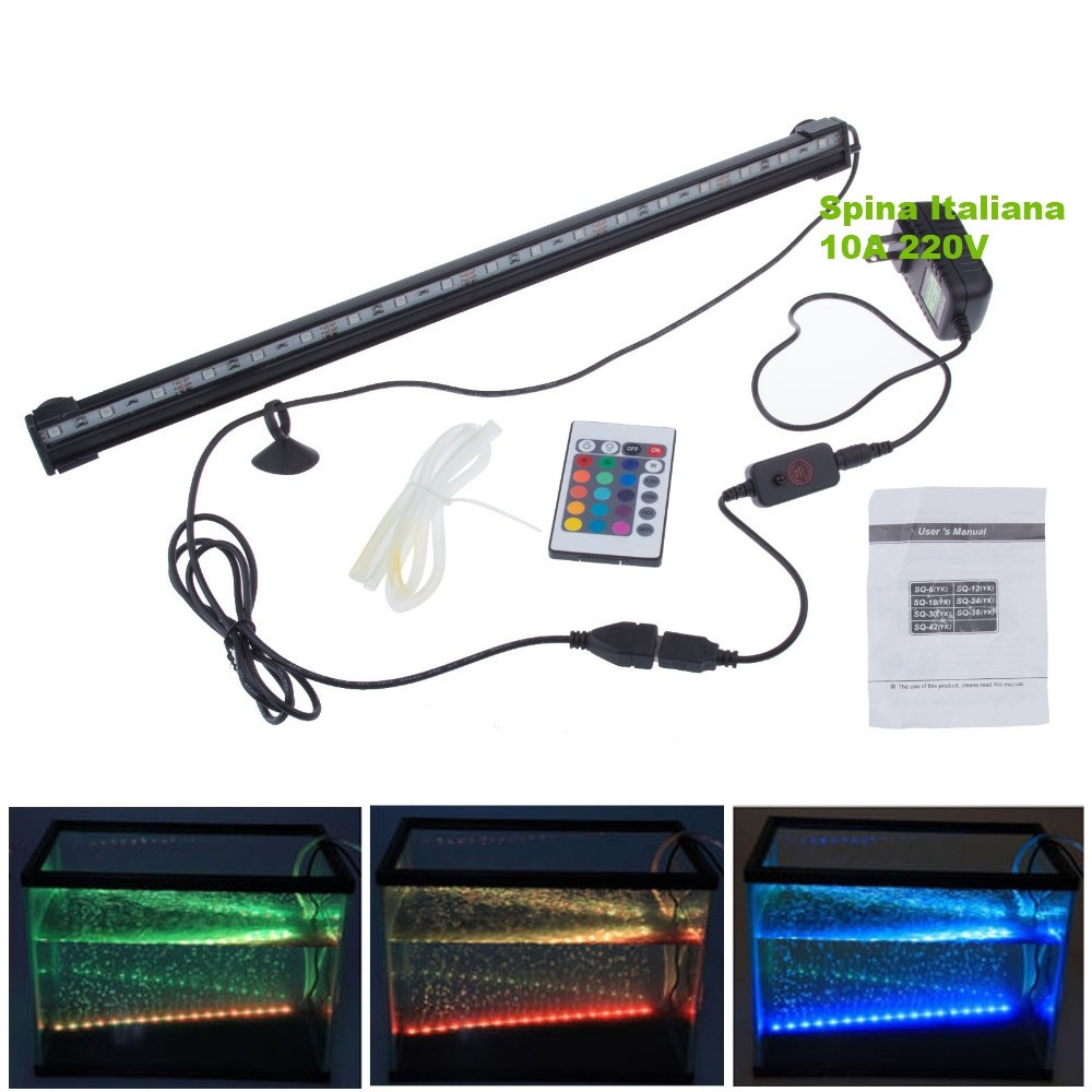 LAMPADA-IMMERSIONE-LED-PER-ACQUARIO-TUBO-LED-T4-DEE-LUCE-PESCI-BIANCA-RGB-BLU miniatura 6