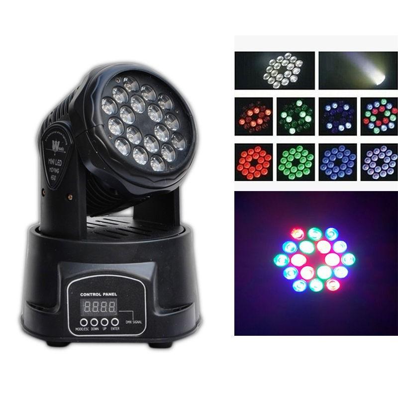 LED MINI Moving Head Light luce 18x3W raggio RGB La lampada Party Festival