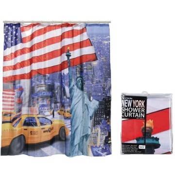 Tenda per doccia new york bandiera vasca da bagno tendina - Tenda per vasca da bagno ...