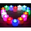 SET 12 MINI CANDELE LED SENZA FIAMMA TREMOLANTE RGB MULTI COLORE BATTERIA INCL.