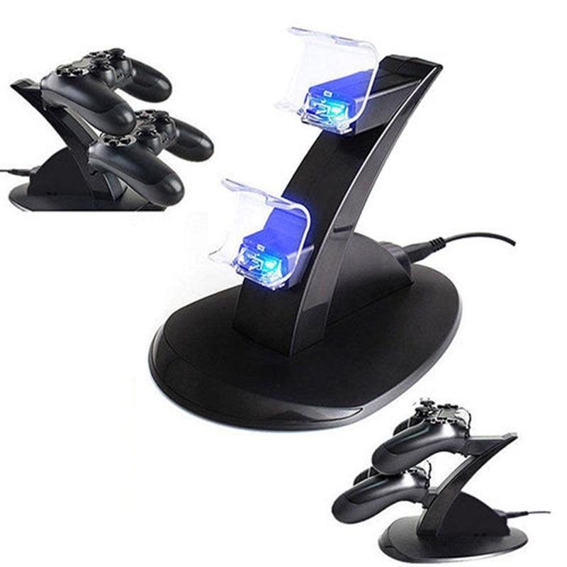 Actif Doppio Caricatore Joypad Playstation 4 Controller Ps4 Dualshock 2 Micro Usb Blanc De Jade