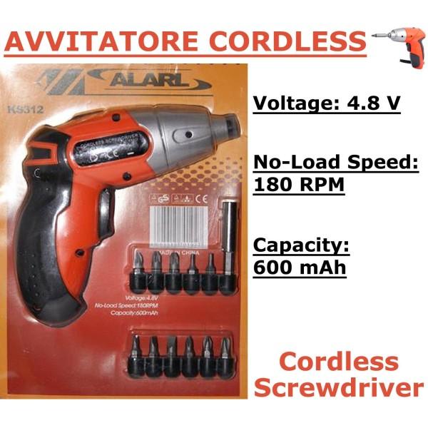 Mini avvitatore trapano cordless 4.8volt 180rpm 11 punte ricaricabile 600mah