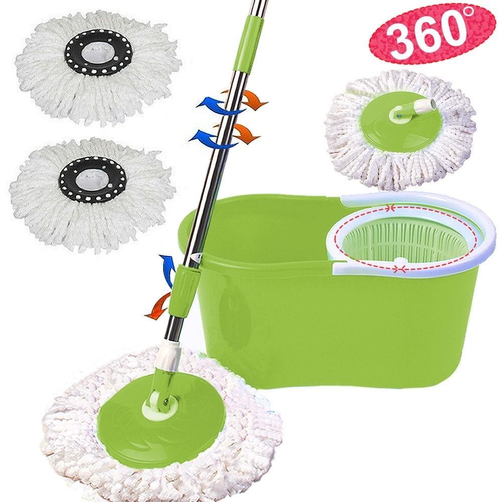 360 ° Magic Mocio più 2 teste di pulizia in microfibra SPINNING ROTANTE MOCIO Secchio /&