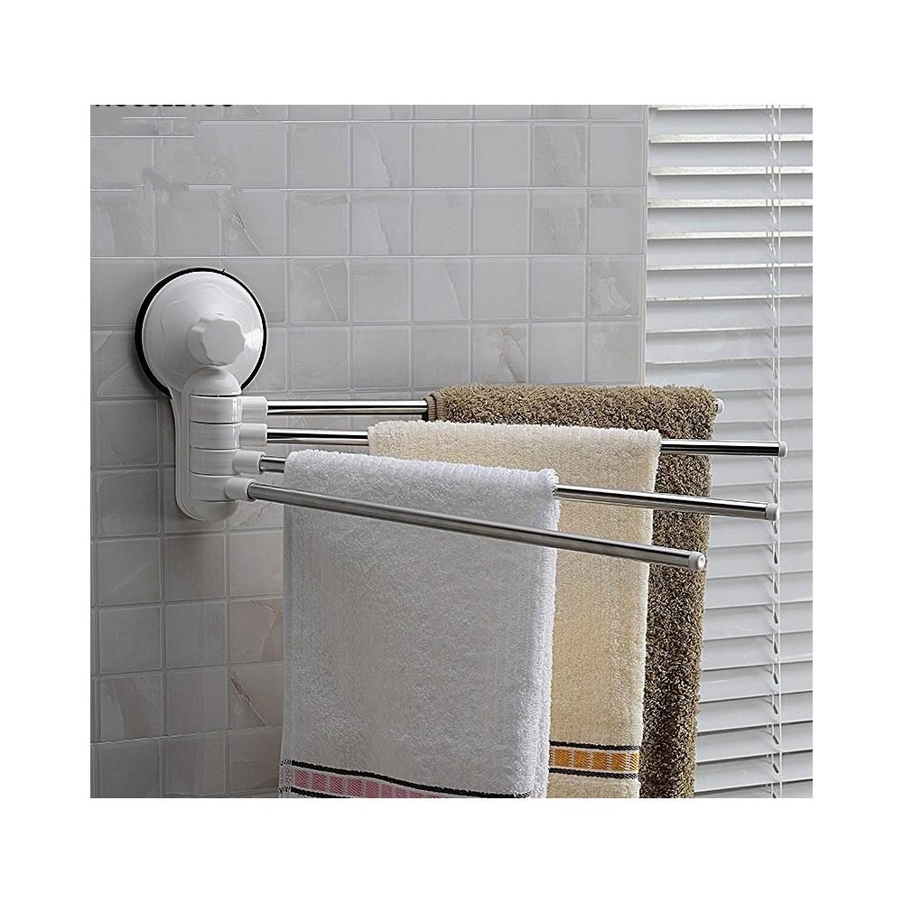 Porta asciugamani asciugamano a parete 4 bracci con attacco a ventosa per bagno - Porta asciugamani bagno ...