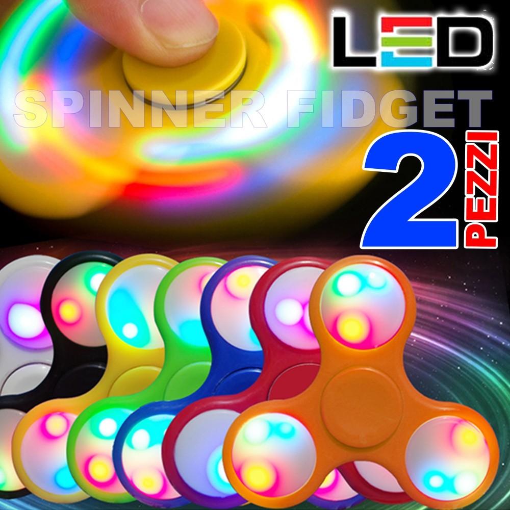SPINNER FIDGET ANTISTRESS CON LED A LED MULTICOLOR GIOCO RILASSANTE