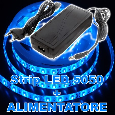 Kit striscia led 5050 flessibile 5m adesiva con for Striscia led adesiva