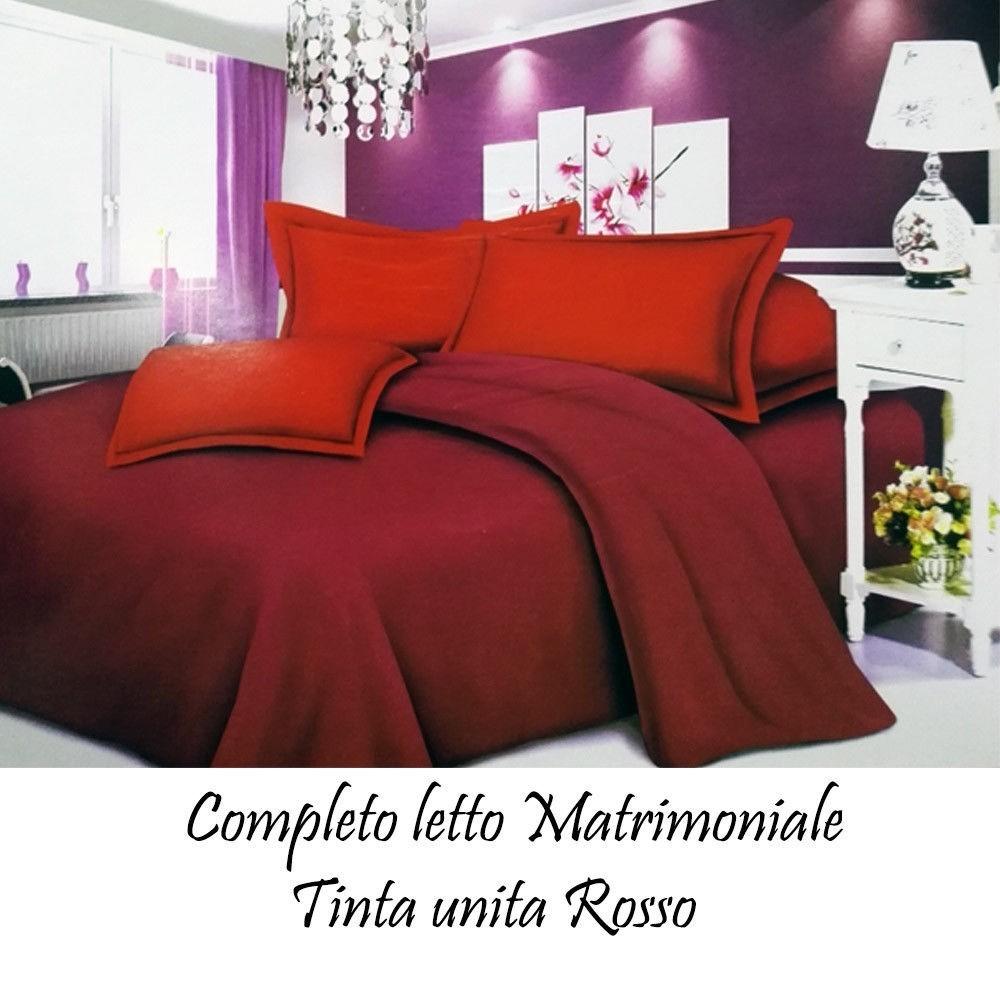 Completo letto lenzuola matrimoniale con copri cuscini tinta unita colore rosso - Copri testata letto matrimoniale ...