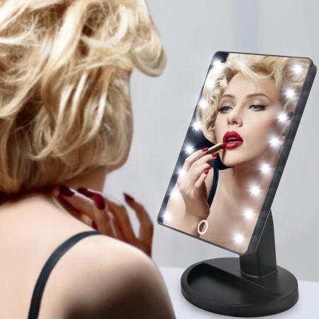 Specchio da trucco illuminato 16 led portatile make up cosmetico camerino - Specchio trucco illuminato ...