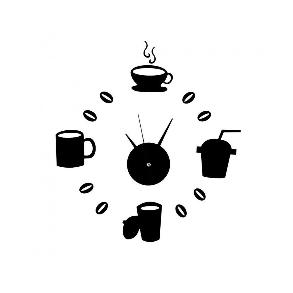 OROLOGIO DA PARETE ADESIVO NERO TAZZE CAFFÈ DESIGN MODERNO CASA UFFICIO  CUCINA