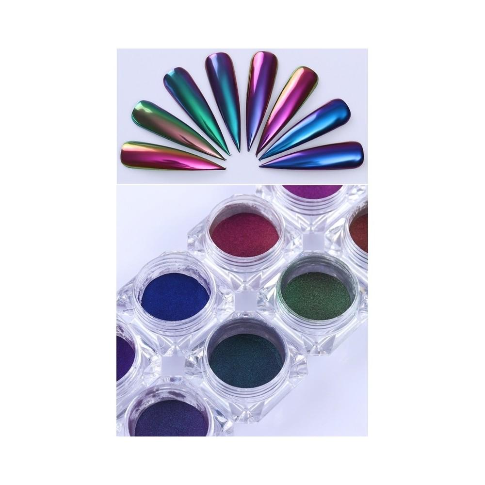 Polvere pigmenti scaglie olografico pennello effetto specchio chrome nail art - Polvere effetto specchio unghie ...