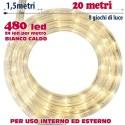 TUBO LUMINOSO 20 METRI LED BIANCO CALDO 480 LUCI PER INTERNO E PER ESTERNO
