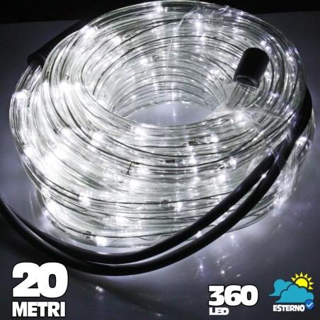Tubo luminoso a led 360 luci bianco freddo 20 metri per for Tubo luminoso led per esterno