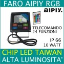 FARETTO FARO LED 10w SLIM RGB AIPIY ALTA LUMINOSITA TELECOMANDO MULTICOLOR
