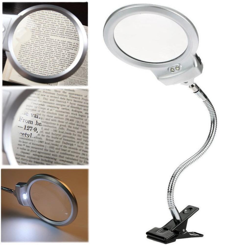 Lampada lente led clip da tavolo scrivania ufficio ingrandimento con pinza 2 led - Lente ingrandimento da tavolo ...