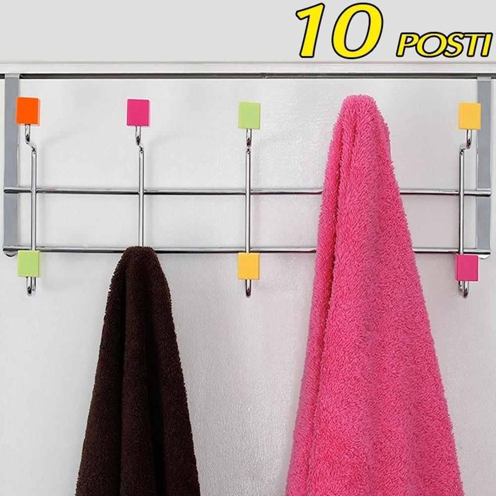 Pomelli Appendiabiti Colorati.Attaccapanni Per Porta Appendiabiti In Metallo 10 Posti Pomelli