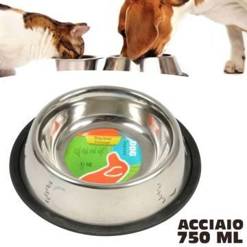 Ciotola per cani gatti in acciaio 750 ml antiscivolo per for Cibo tartarughe acqua