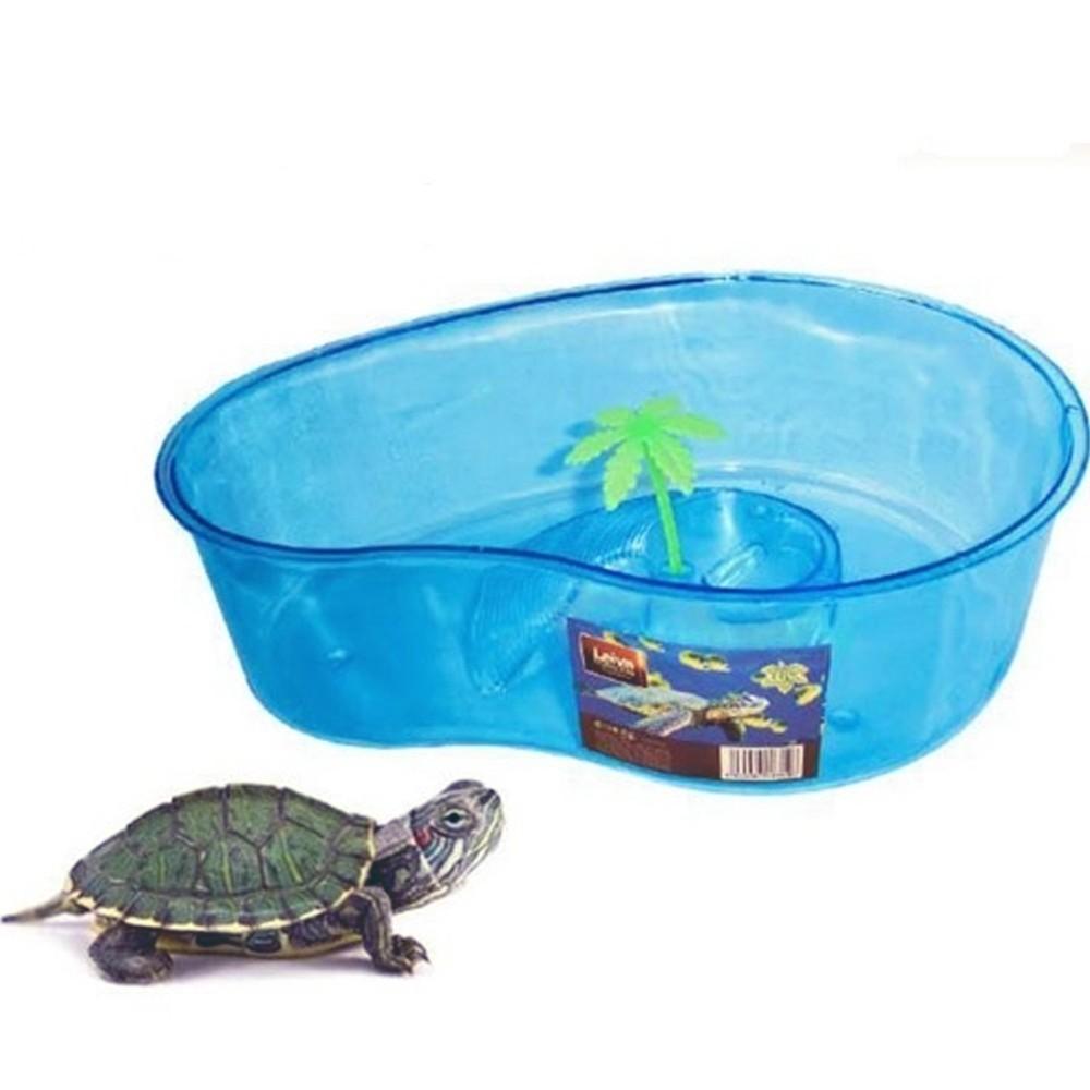 Tartarughiera blu con palma 32x12x23cm animali acquario for Tartarughe per acquario