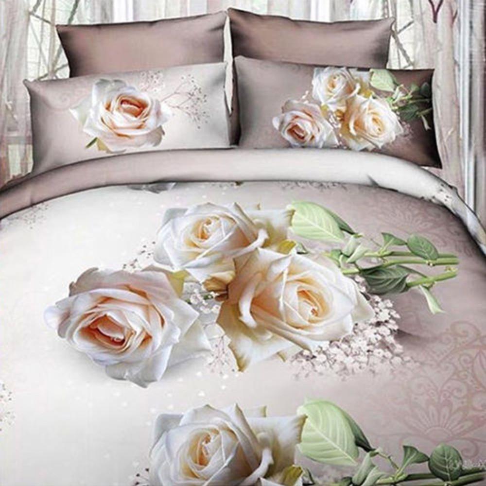 Completo Letto 3d Lenzuola Matrimoniale Sotto Sopra Copricuscini Rose Bianche