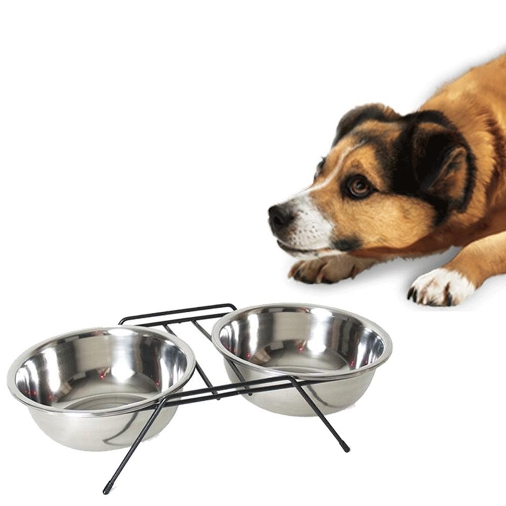 VIFER Doppia Ciotola Inox Set di Ciotole per Animali Domestici Doppio in Acciaio Inox per Cani Cibo per Gatti Ciotole per Acqua Alimentatore Piatti per mensola