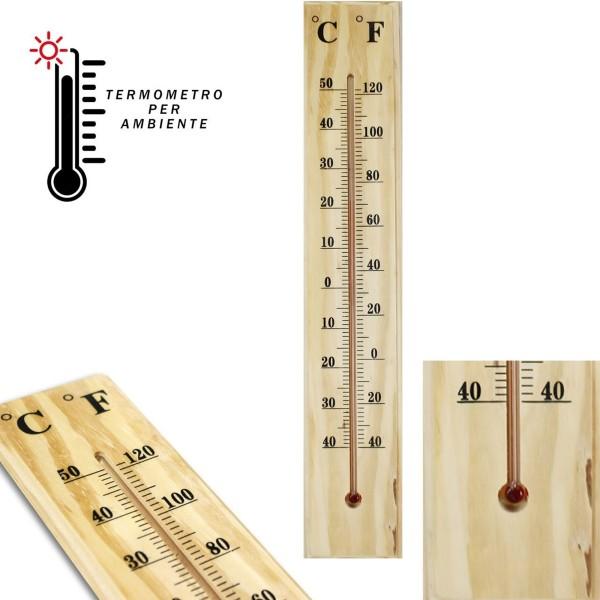 Termometro interno esterno da muro in legno c f casa - Rasatura muro esterno ...