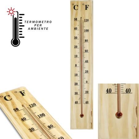 TERMOMETRO INTERNO ESTERNO DA MURO IN LEGNO °C °F CASA UFFICIO GIARDINO
