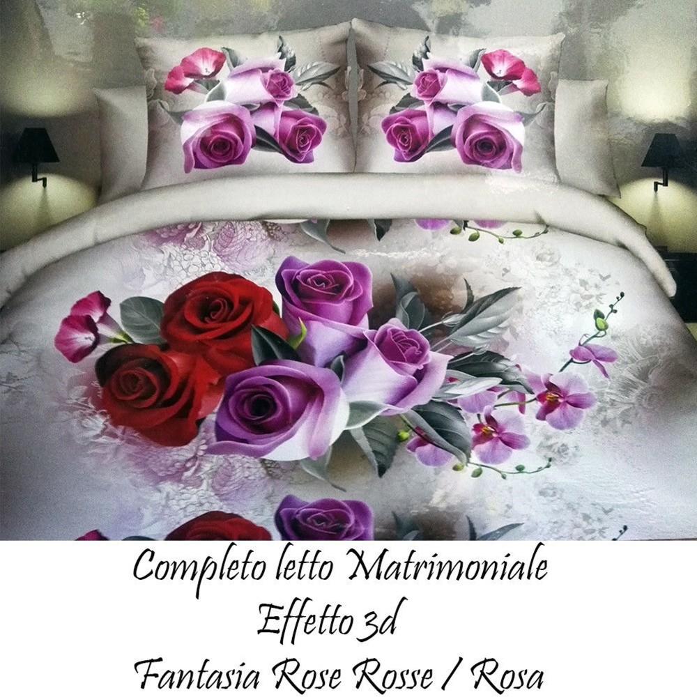 Completo Letto Matrimoniale 3d.Completo Letto 3d Lenzuola Matrimoniale Sotto Sopra Copricuscini