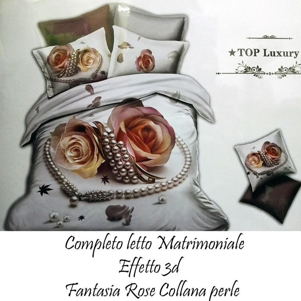 Completo Letto 3d Lenzuola Matrimoniale Sotto Sopra Copricuscini Rose Con Perle