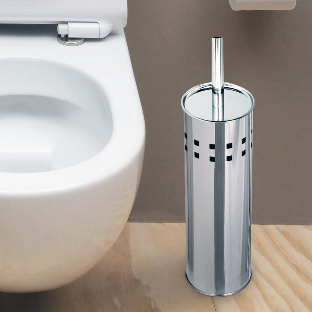 Portascopino con spazzolone wc cilindro in acciaio inox 26x10cm accessori bagno - Accessori bagno in acciaio ...