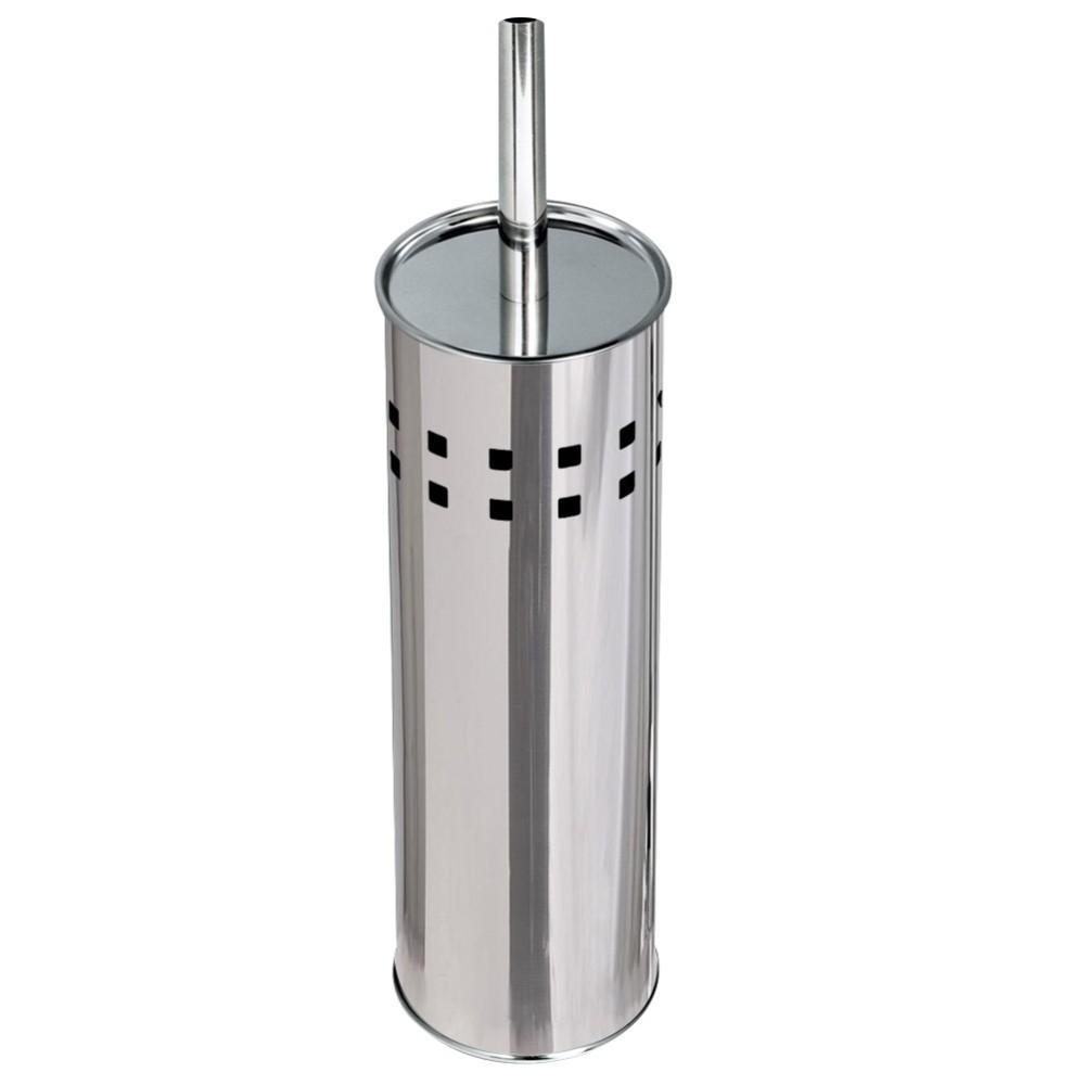 Portascopino con spazzolone wc cilindro in acciaio inox 26x10cm accessori bagno - Accessori bagno acciaio inox ...