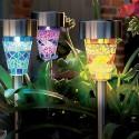 SET 6 LAMPADE MOSAICO DA GIARDINO COLORATE RICARICA SOLARE PALETTI SOLARI 1LED