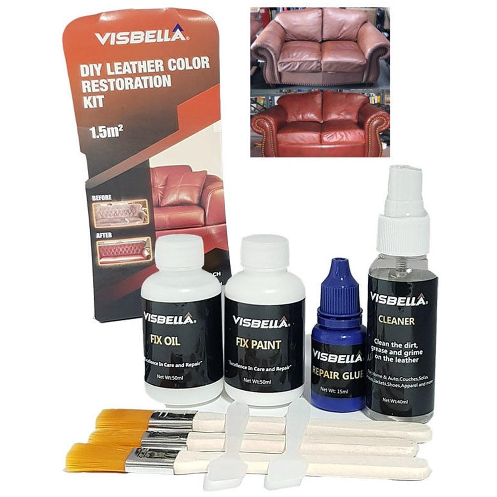 Kit restauro pelle divani scarpe interni auto ripara ravviva cuoio visbella - Kit riparazione pelle divano ...