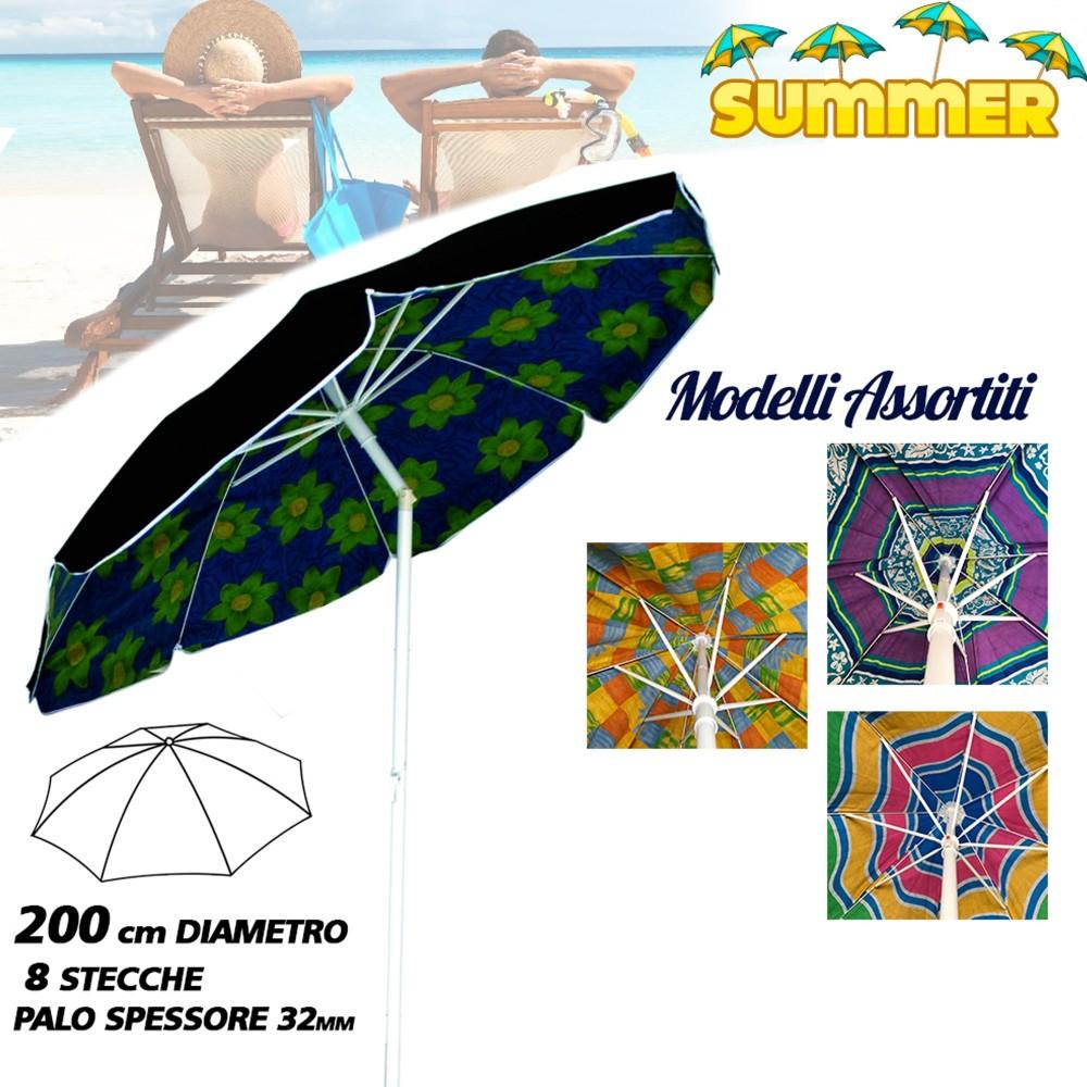 Vendita Ombrelloni Da Spiaggia Napoli.Ombrellone Da Spiaggia Diametro 200 Cm Antivento Con Snodo Sacca