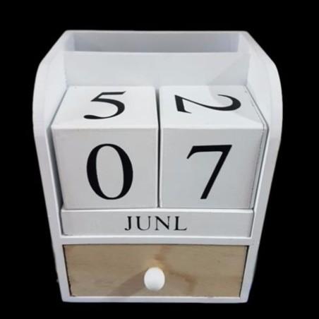 Portapenne oggetti con cassetto datario legno country chic for Oggetti arredo design
