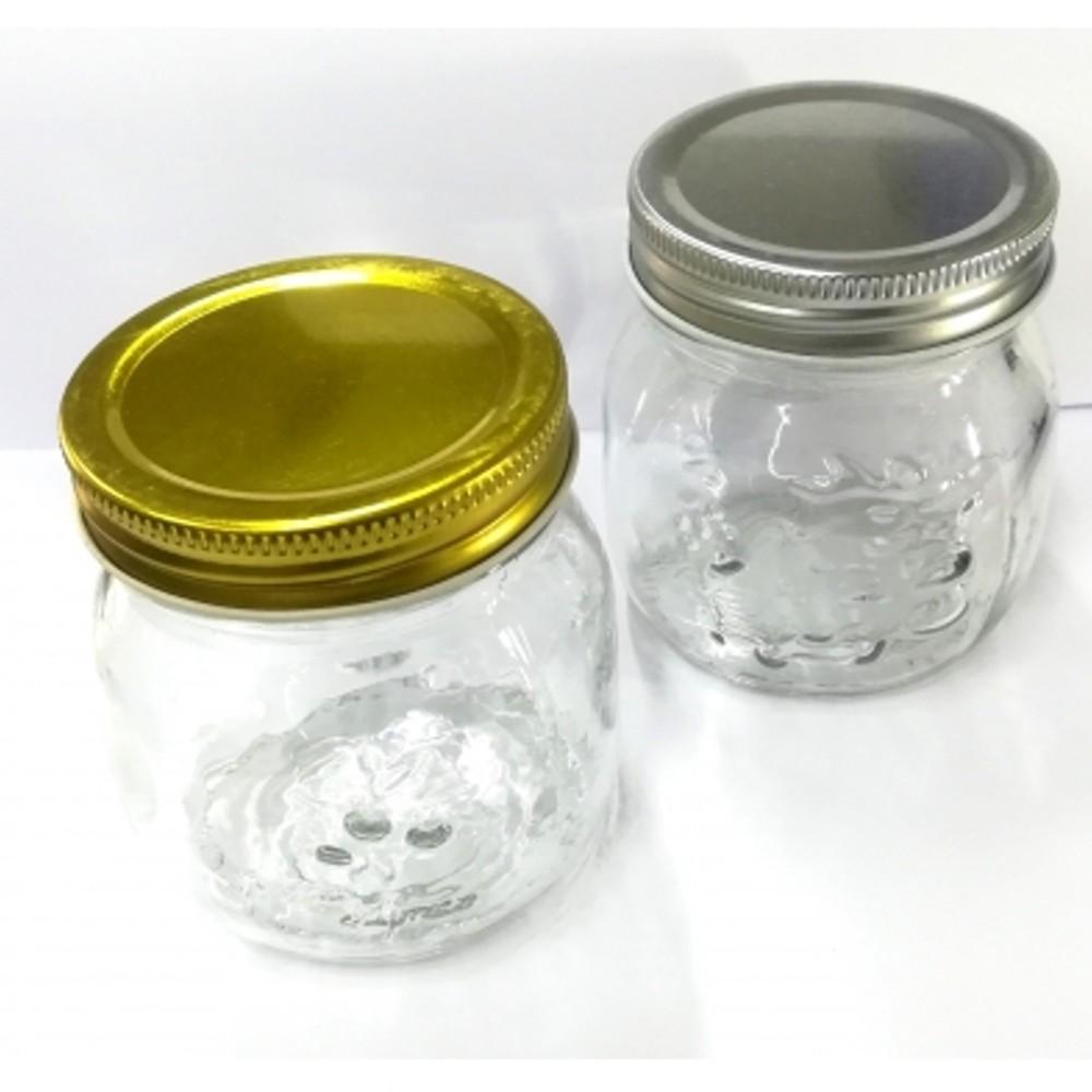 Contenitori Vetro Per Conserve 4 vasetti barattoli in vetro lavorato 250 ml per marmellate