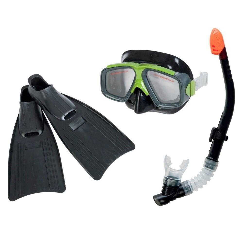 Set maschera boccaio pinne per immersioni snorkeling sub mare piscina nero - Pinne per piscina ...