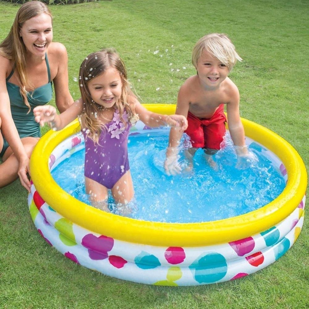 Piscina gonfiabile per bambini 3 anelli 114 x 25 cm giardino terrazzo 132 lt - Piscine per bambini ...
