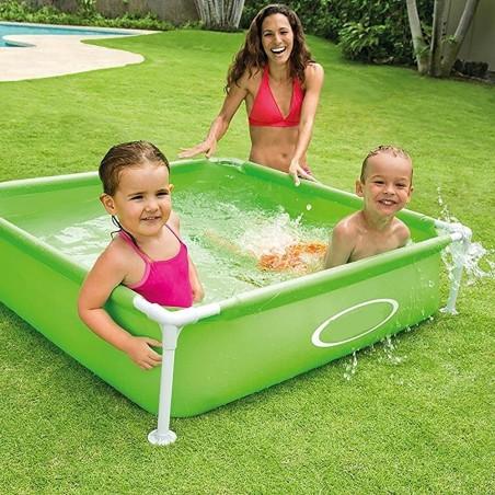 Piscina quadrata fuori terra per bambini baby telaio acciaio verde 122 cm - Piscina fuori terra quadrata ...
