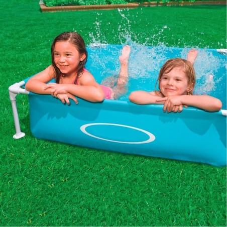 Piscina quadrata fuori terra per bambini baby telaio in acciaio blu 122 cm - Piscina fuori terra quadrata ...