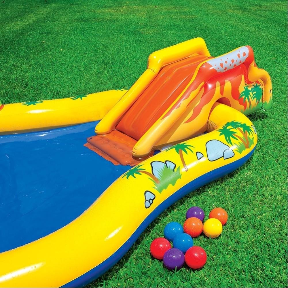 Piscina parco giochi gonfiabile con dinosauro con scivolo canestro doccia - Scivolo gonfiabile per piscina ...