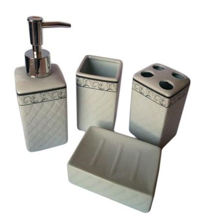Set 4 pz accessori bagno in ceramica da appoggio design classico con decoro - Set accessori bagno da appoggio ...
