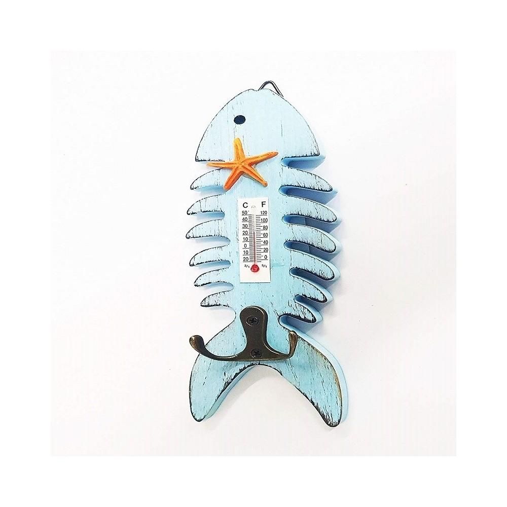 Termometro Analogico Legno Da Parete Pesce Azzurro Doppio Gancio Per