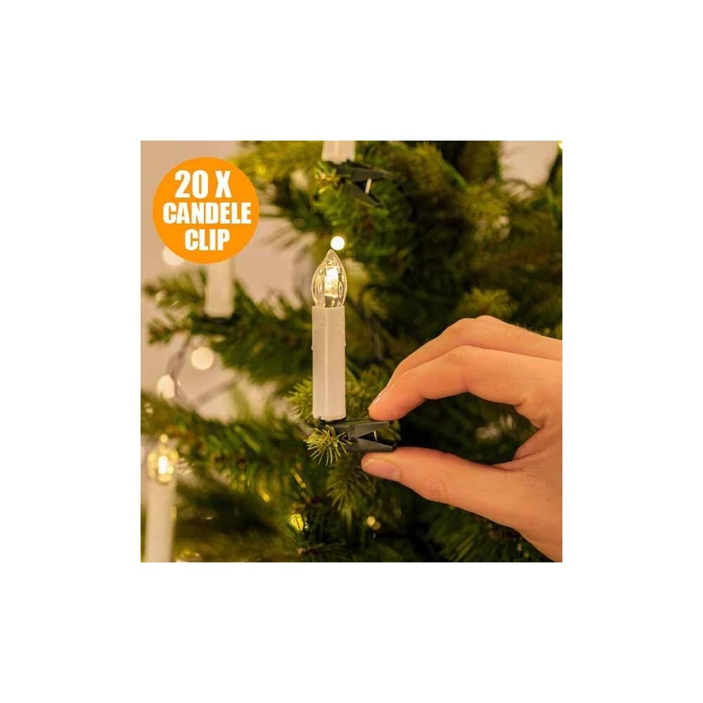 Catena Luminosa Per Foto catena luminosa 20 candele a clip 4,9m albero natale 220v