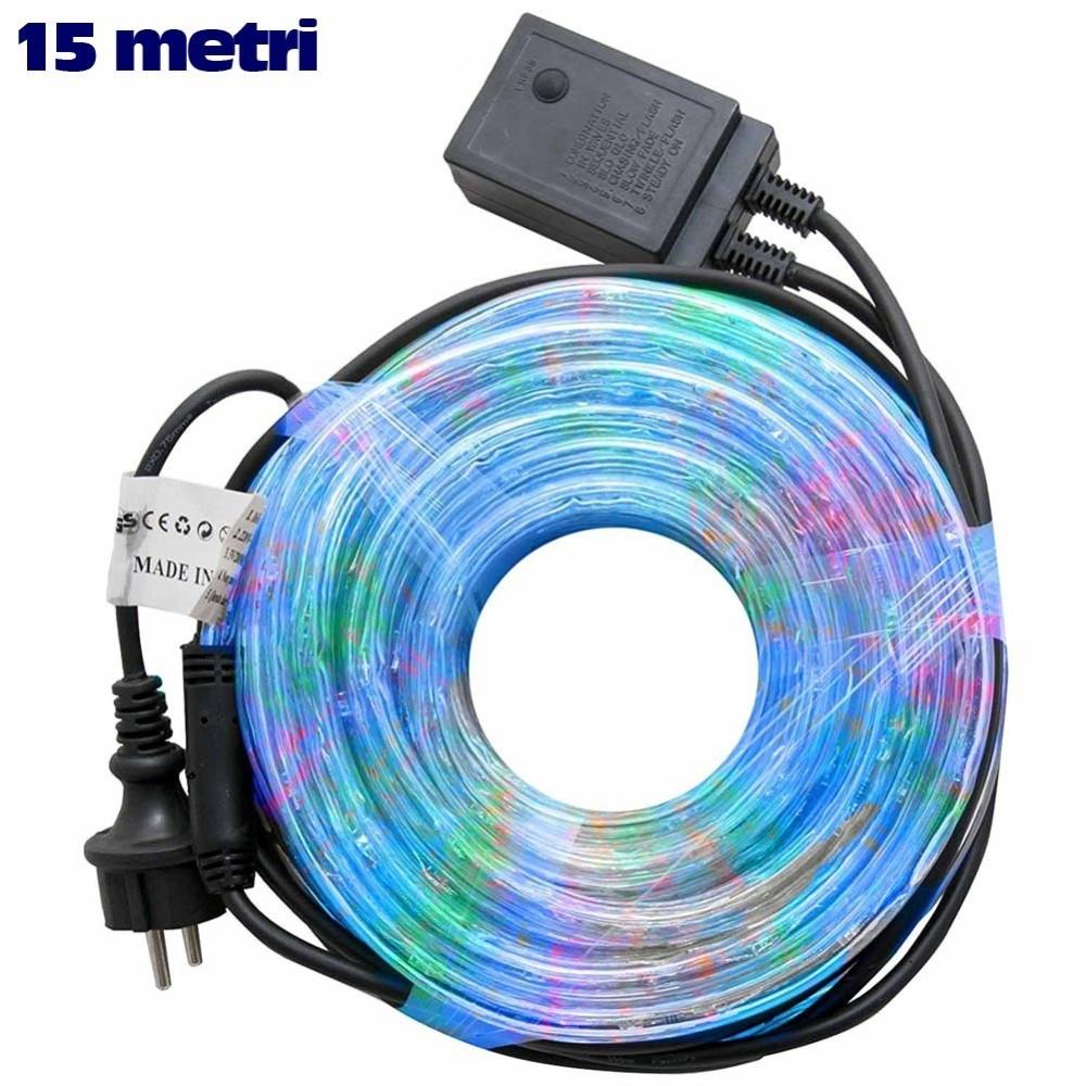 Tubo luminoso natalizio 15mt led multicolor controller for Tubo luminoso led per esterno