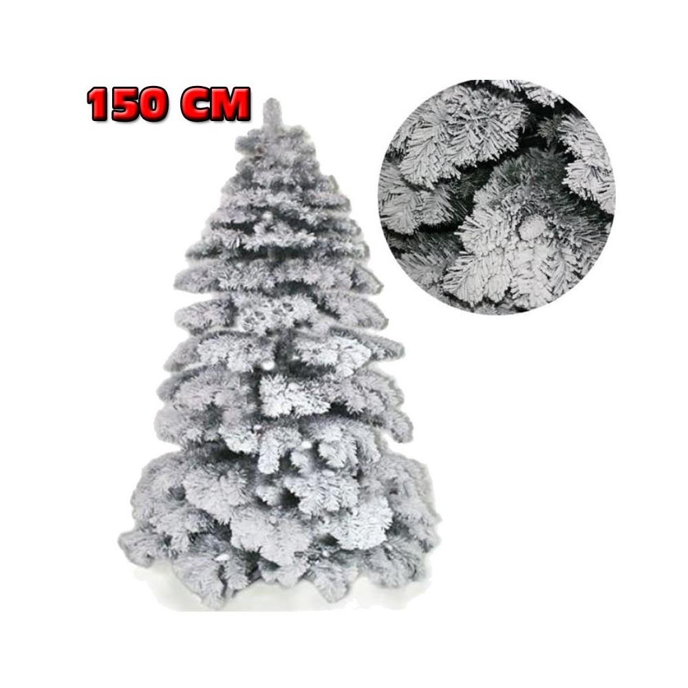 Albero Di Natale Bianco.Albero Di Natale 150cm Abete Snow Con Effetto Innevato Bianco Base A Croce
