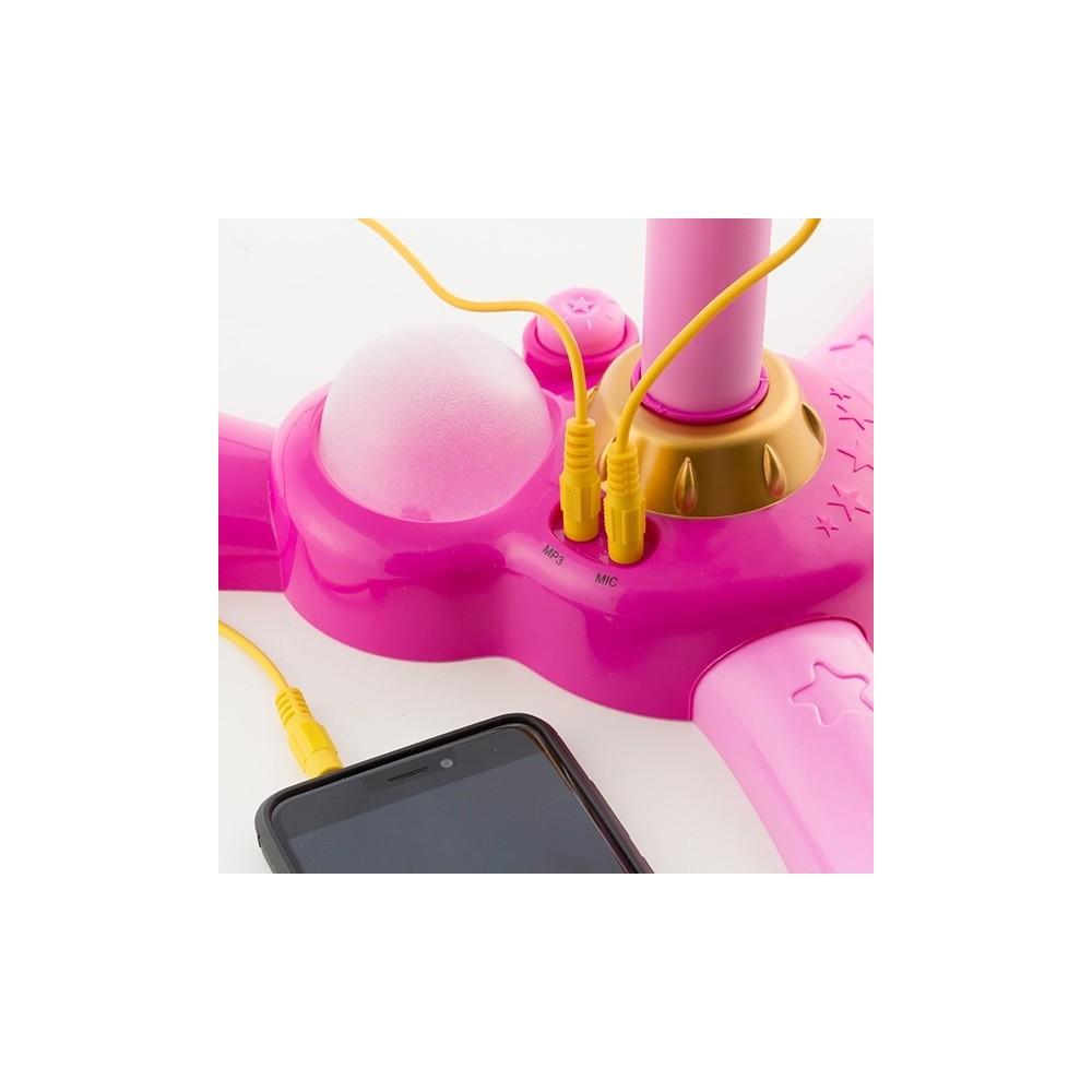 Microfono Con Asta In Plastica Rosa Con Luci e Suoni Ingresso MP3 Smartphone