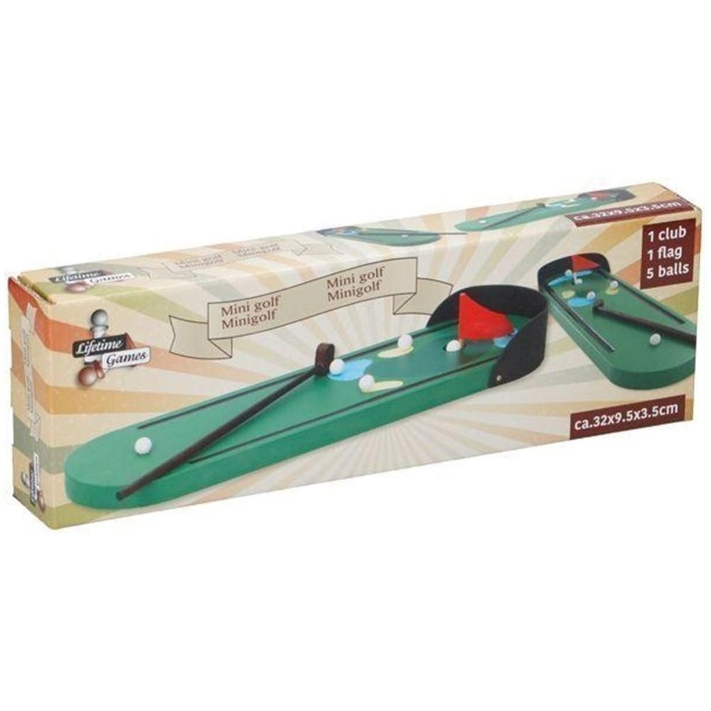 Set Mini Golf Gioco Tavolo Scrivania Legno Con Mazza Palline 32x9x3cm