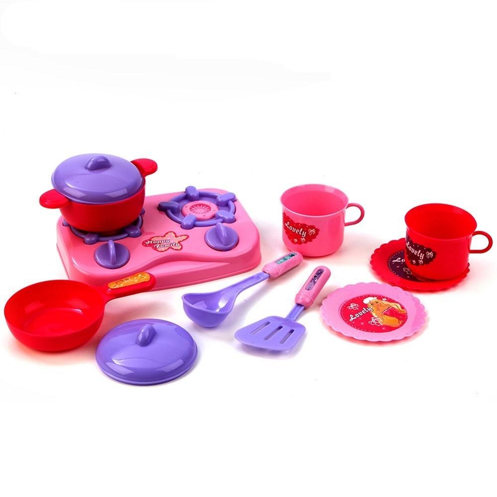 Set cucina bambine 11pz piano cottura stoviglie pentole for Cucina accessori